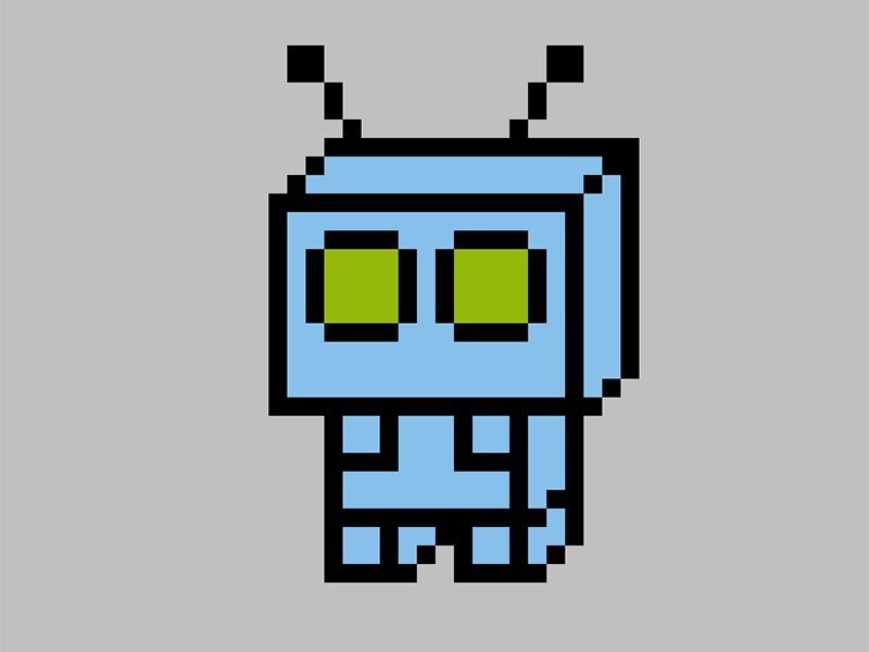 Cute robot with green eyes