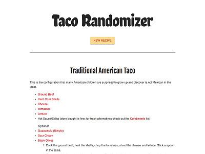 UI - Taco randomizer javascript code ui
