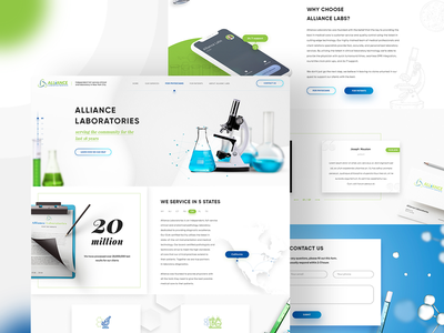 Alliance Laboratories website design white laboratory medical site design web ui