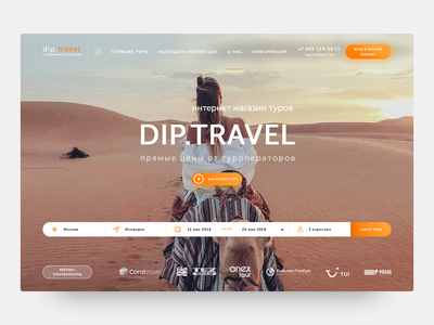 Dip Travel Homepage ux homepage landing page agency travel design ui site web