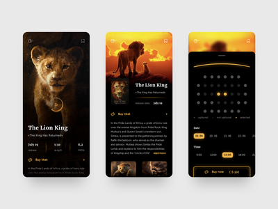 Cinema App Design daily web mobile ios clean black ticket lion cartoon movie cinema app design ux ui agency