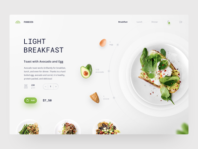 Foodies Product Page creativity daily ui concept avocado breakfast food white homepage daily adobe design ux ui site web