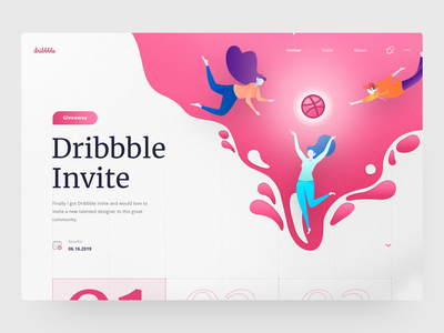 Dribbble Invite Giveaway landing page dribbble invite giveaway adobe homepage illustration daily design web ux ui dribbble invitation draft giveaway invite