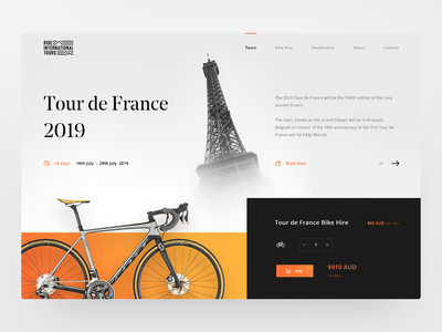 Cycling Website Home Page tours clean minimal bike bicycle ride travel landing page homepage daily ux ui design web