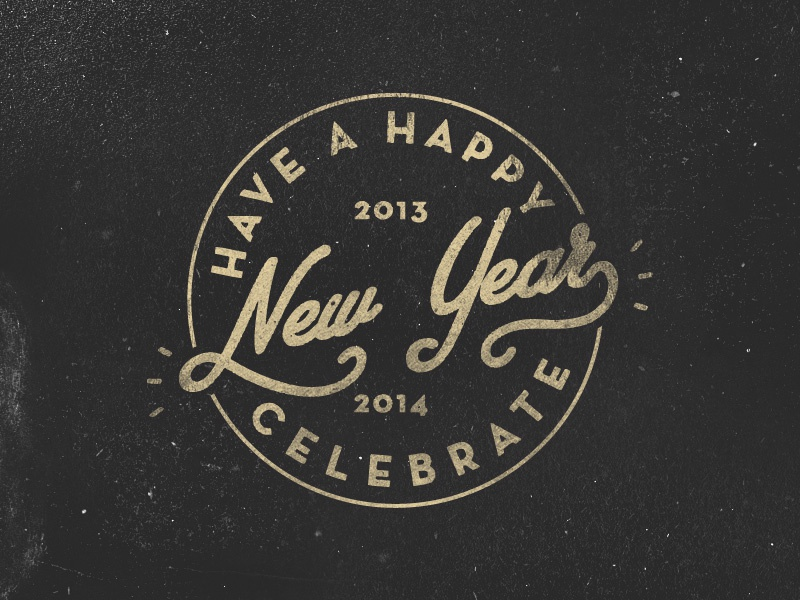 Happy new year 4 new year retro grunge vintage lettering type typography