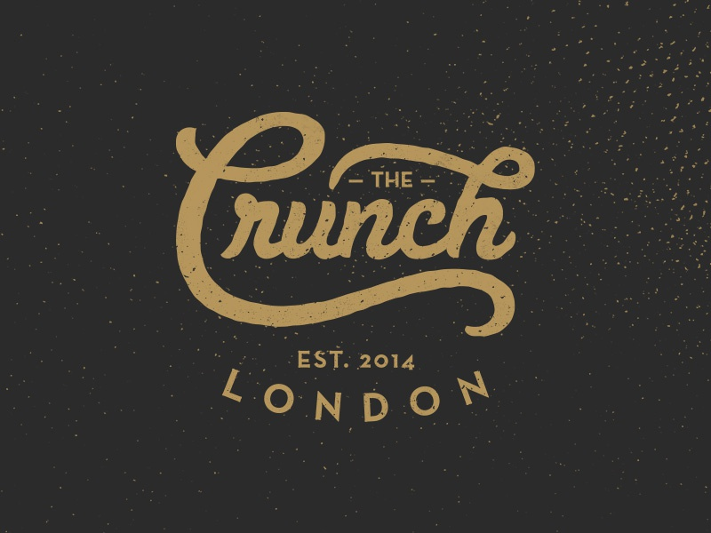 The Crunch logo graphic design typography type lettering vintage old retro identity texture grunge
