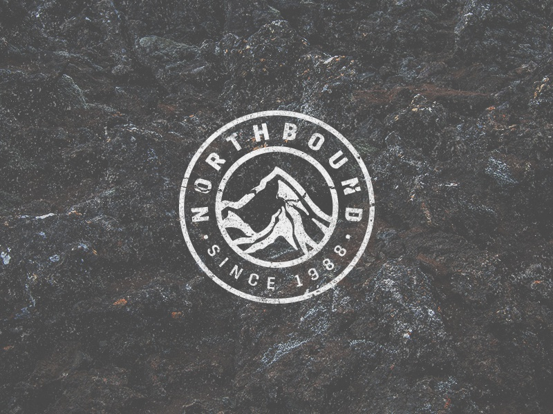 Nothbound badge logo graphic design typography type identity texture badge mountain