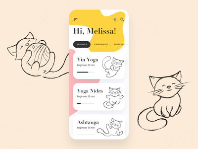 Yoga app concept training yoga ux ui illustration ios health hero filter fitness exercises fun cat course cards body art application apple app