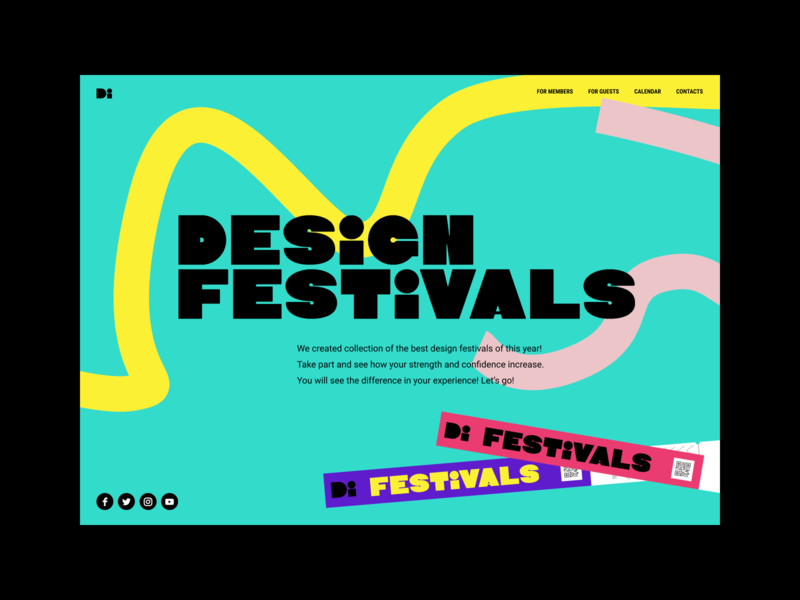 Design Festivals website website art background dynamic illustration colors learn play fun conference book event ticket landingpage uiux ui design festival fest landing