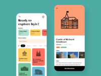 Travel guide app ui trip planner trip travel tourist search mobile ios illustrations plan icons guide filter explore day city cards app android adventure