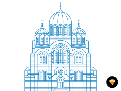 Illustration. Freebie: .sketch, psd, ai psd sketch freebie kiev kyiv icon architecture city town illustration building church