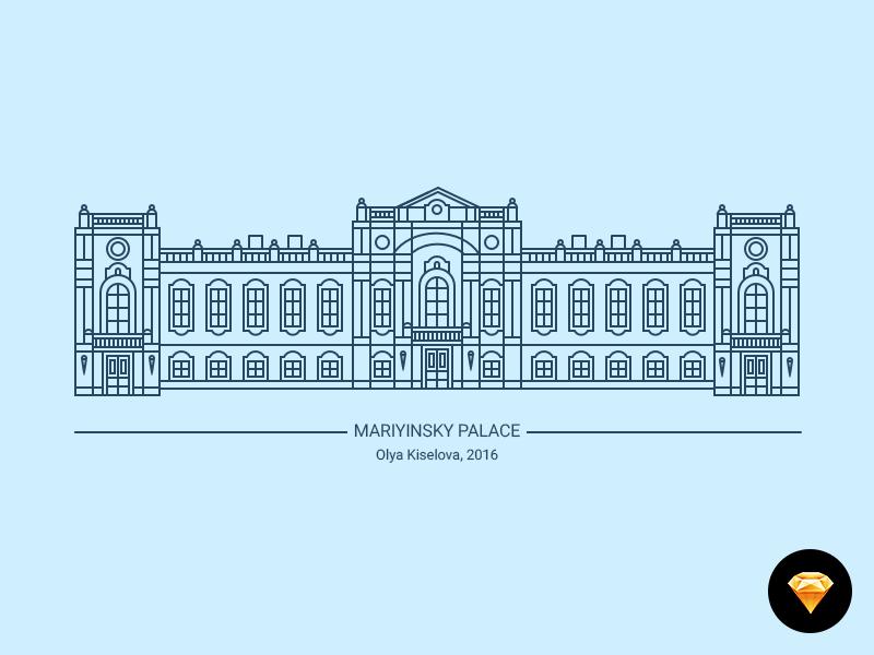 Illustration. Freebie - sketch, psd, ai ai psd palace building illustration town city architecture kyiv kiev freebie sketch