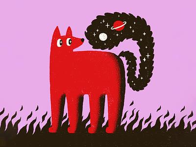 Galaxy Fox digital animal tail planets stars fire fox illustration procreate flames space galaxy fox