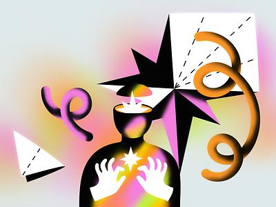 Creative Challengers star trend origami paper creation creativity gradient vector illustration