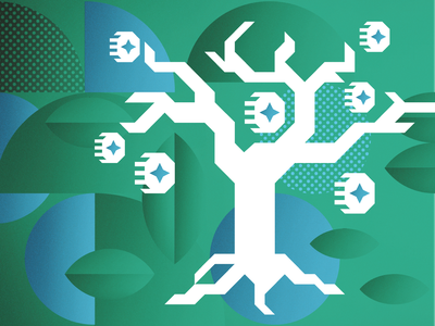 Profit Prophets consumerism leaves branches nature coins money tree illustration vector geometric 2019 report trend trends