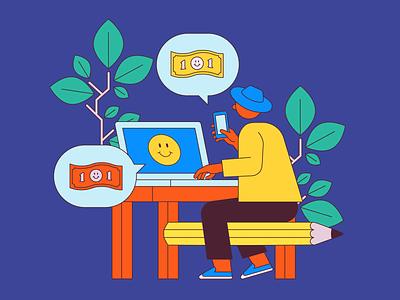 The Good Gig online plant money laptop desk pencil gig economy freelance job work business vector illustration