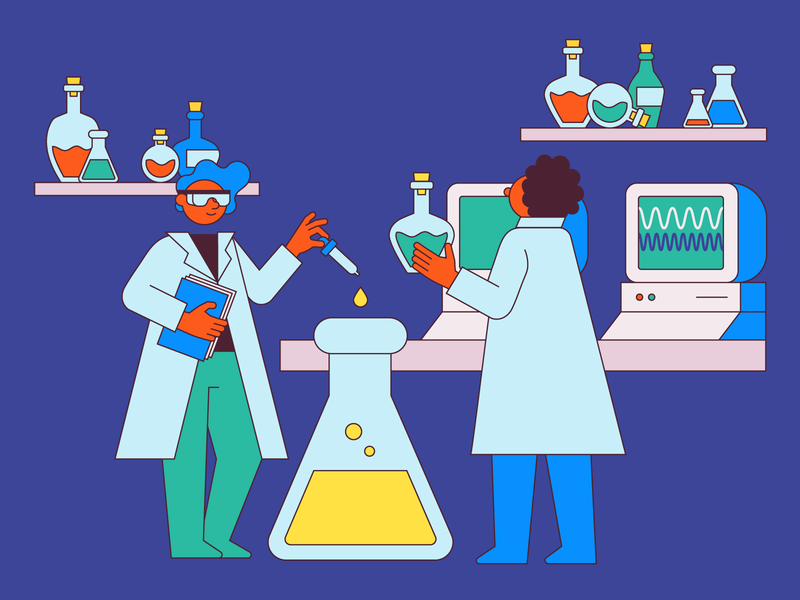 Public Labs potion scientist chemistry computer laboratory lab business strategy scientific science vector illustration