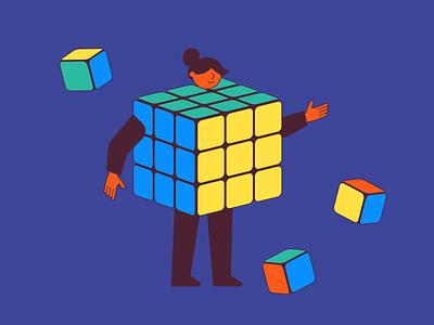 3D Staff cube rubix cube isometric business vector illustration