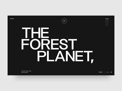 Forest Planet minimal octane cinema 4d web typography ui