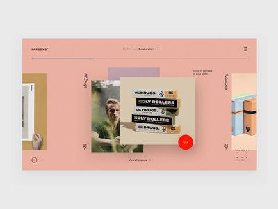 Parsons Branding Exploration minimalism interaction animation minimal makereign web typography ui