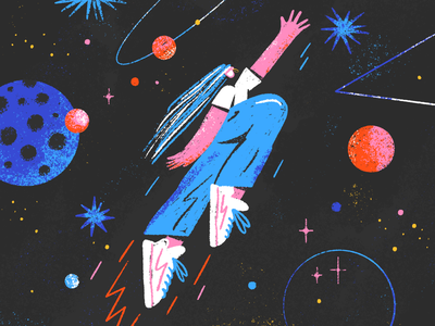 Rocket startup character design procreate girl magic planet universe cosmos dream star space