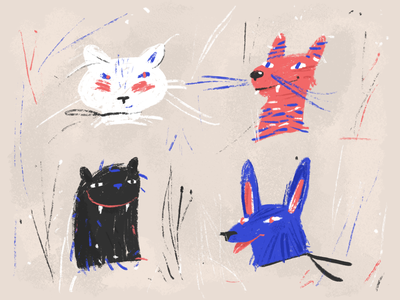 Who are you? friends wild animals character design sketch illustration procreate