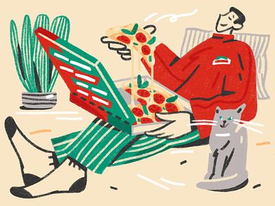 Papa John's pizza friend food interior cat pizza home magazine inc.russia sketch character design procreate illustration