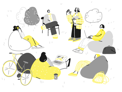 Park coworking startup business magazine team travel moscow russia nature bike work character design procreate illustration