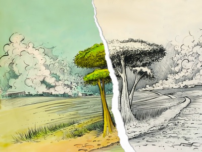 Trees Sketch cartoon illustration landscape rural country kuretake brush sketch ink trees