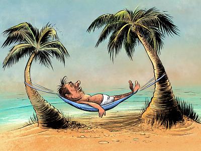 Holiday illustration palm trees holiday beach cartoon illustration ink brush procreate sketch ink