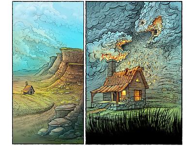 Illustration drawing graphicnovel landscape digitalcolor sketch ink wreck home