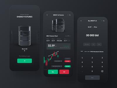 Trading App - BRENT Oil Futures design monitoring investing investment ux uiux ui redesign iphone ios app design app trading app trading futures oils oil