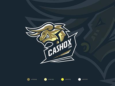 CASHOX - Logo Design logotype horn design brandign animal betting casino football sports soccer mythology logo labyrinth illustration crest bull badge