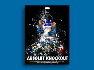 Absolut Knockout student project advertisment photoshop branding design