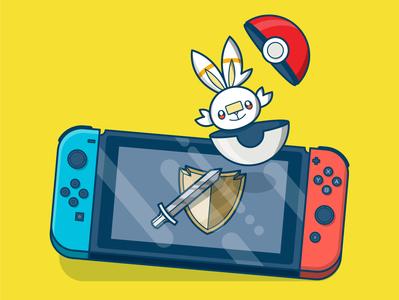 Pokemon Sword and Shield Scorbunny video game cartoon pokemon sword and shield scorbunny nintendo switch nintendo pokemon vector illustration