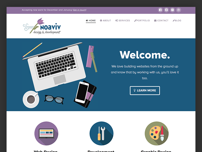 Noaviv Website analogous flat design web design