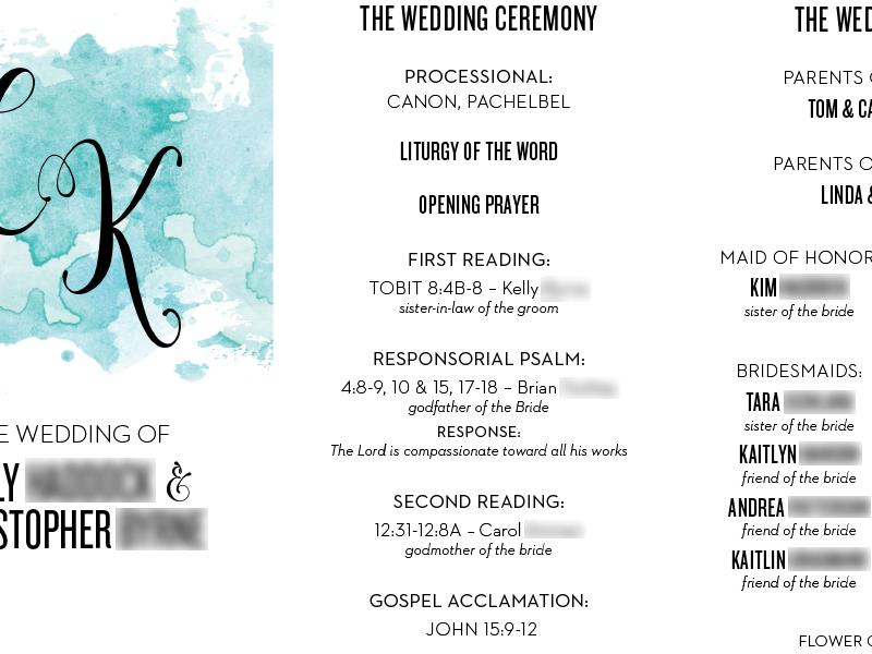 Wedding Program watercolors typography print