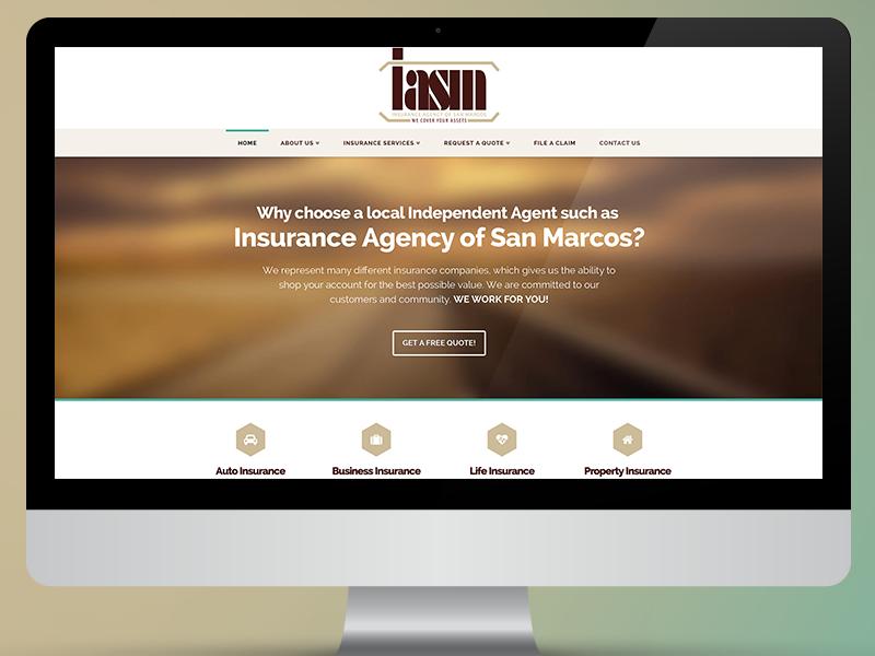 Insurance Agency Website brown photoshop web design wordpress