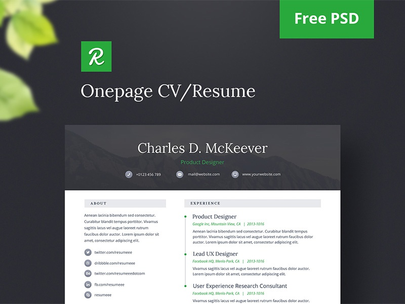 onepage free cv  resume psd template by getresume co