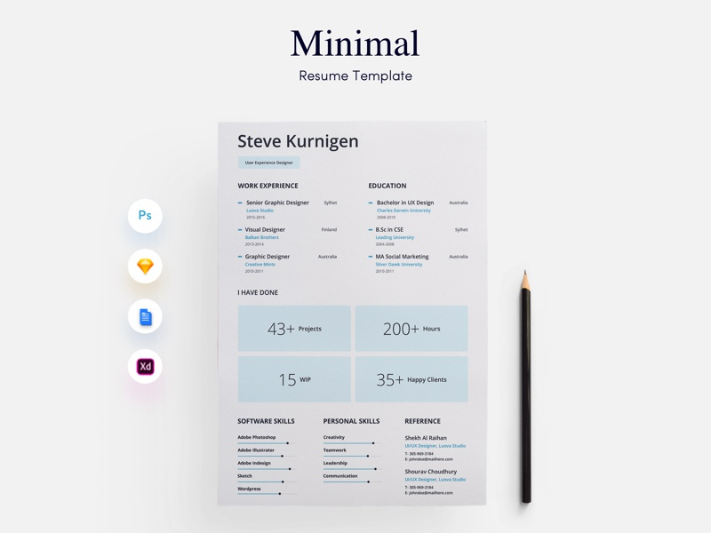 Designer Minimal Cv Resume Template By Getresume Co Dribbble