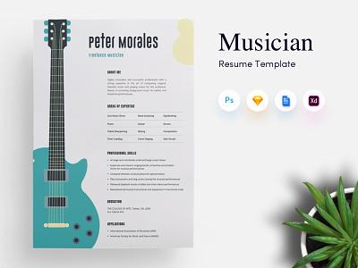 Musician CV/Resume Template resume cv performer guitarist singer minimal freelance artist musicuan artist