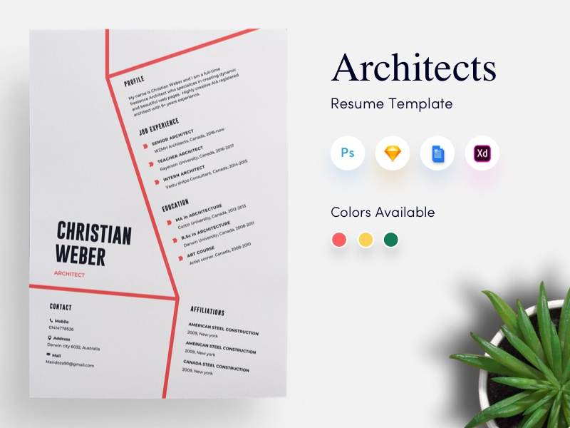 architects cv  resume template by getresume co on dribbble