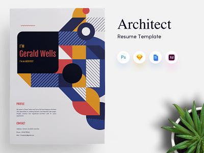Architects CV/Resume Template curriculum vitae personal portfolio design shape architects resume cv