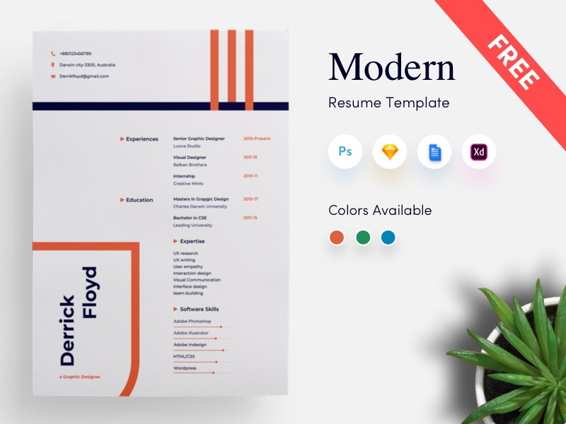 Free Modern CV Resume Template By Getresumeco On Dribbble