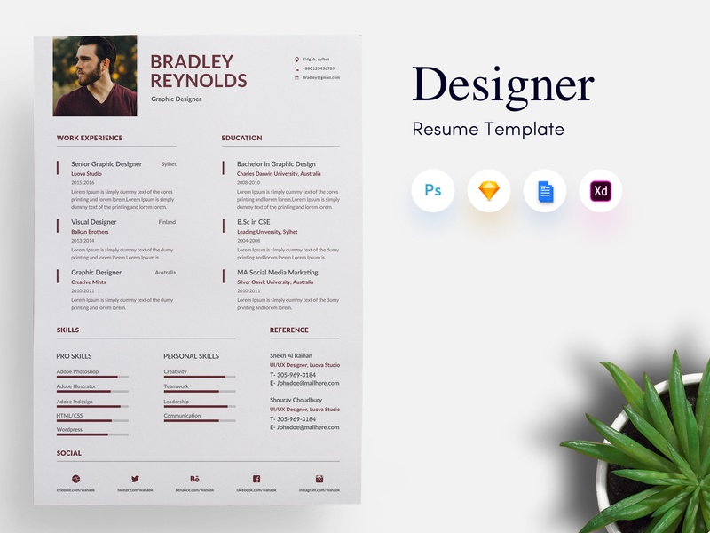 3 Page Designer Cv Resume Template By Getresume Co Dribbble Dribbble