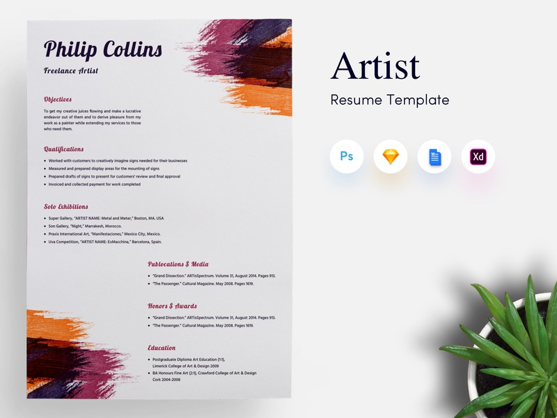 freelance artist cv  resume template by getresume co on dribbble