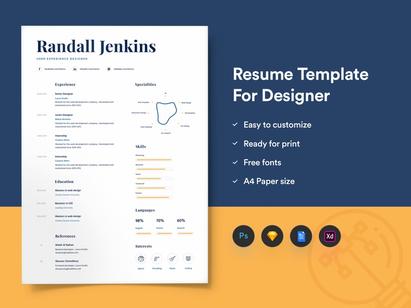 Resume Template For Designers With Portfolio by getresume co