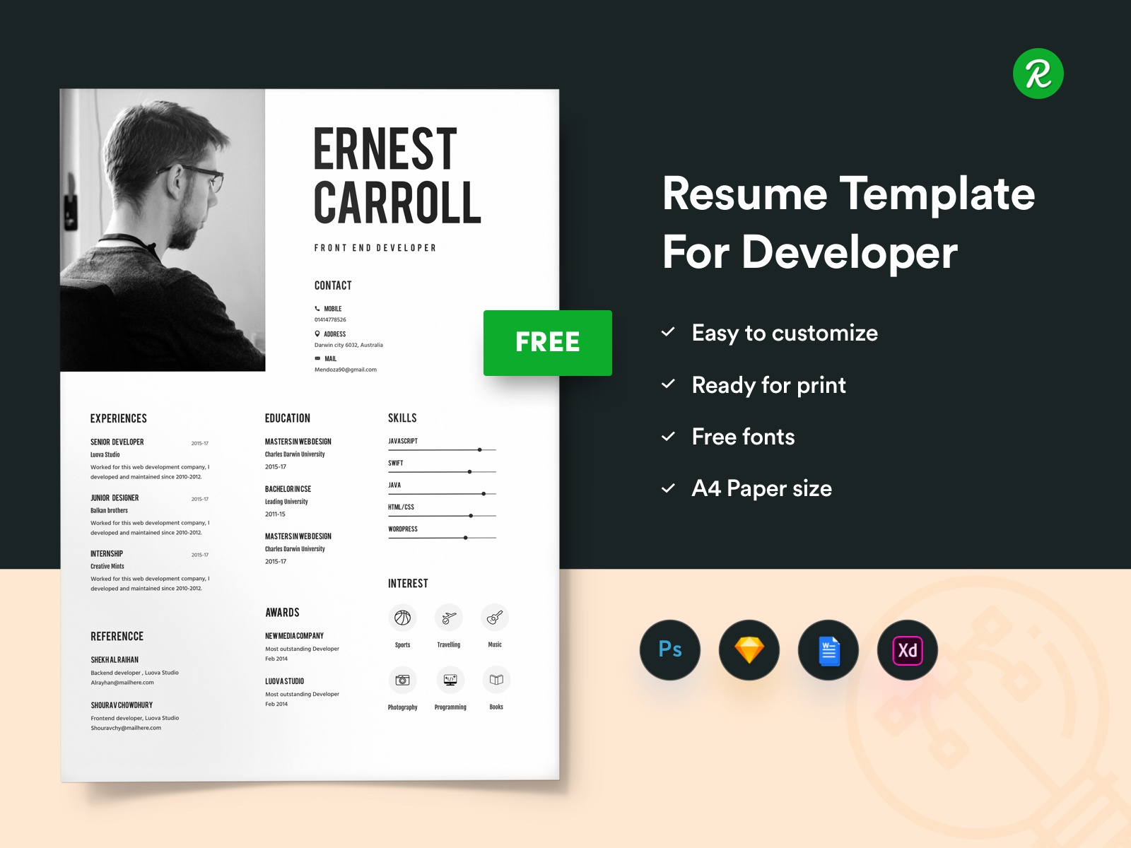 free resume template for developers with portfolio by