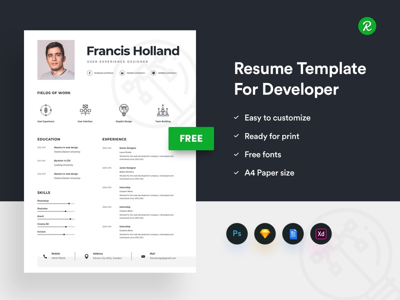 Free Resume Template For Designer By Getresumeco On Dribbble