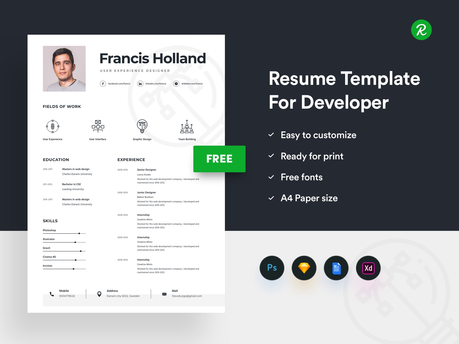 Free Resume Template For Designer by getresume.co - Dribbble